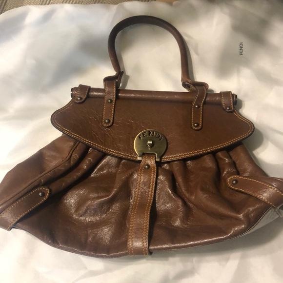 Fendi Handbags - Authentic Fendi Ruched Leather Shoulder Bag